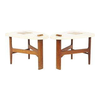 Harvey Probber Style Mid Century Walnut Side End Tables - Pair For Sale