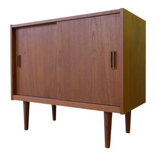 Mid Century Modern Danish Teak Record Cabinet / Credenza