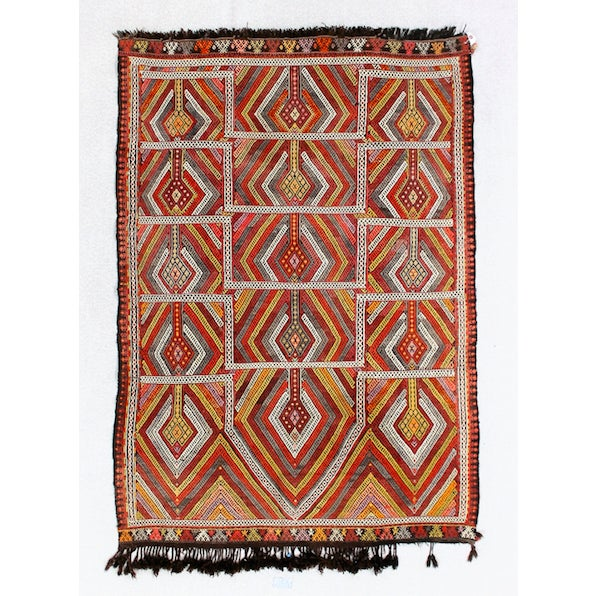 Circa 1940's Turkish Kilim Rug - 4′5″ × 6′3″ - Image 2 of 5