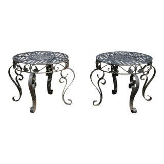 French Art Nouveau Style Wrought Iron Lattice Top Round Side Tables - a Pair For Sale