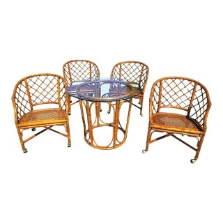Boho Chic Bamboo Rattan Caned Dining Gaming Set - 5 Pieces For Sale