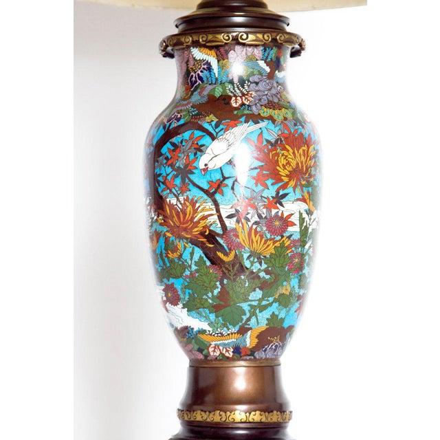 Asian Late 19th Century Japanese Meiji Cloisonne Vase as Custom Lamp For Sale - Image 3 of 13