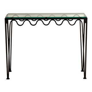 Undulating 'Méandre' Wrought Iron and Glass Console by Design Frères For Sale