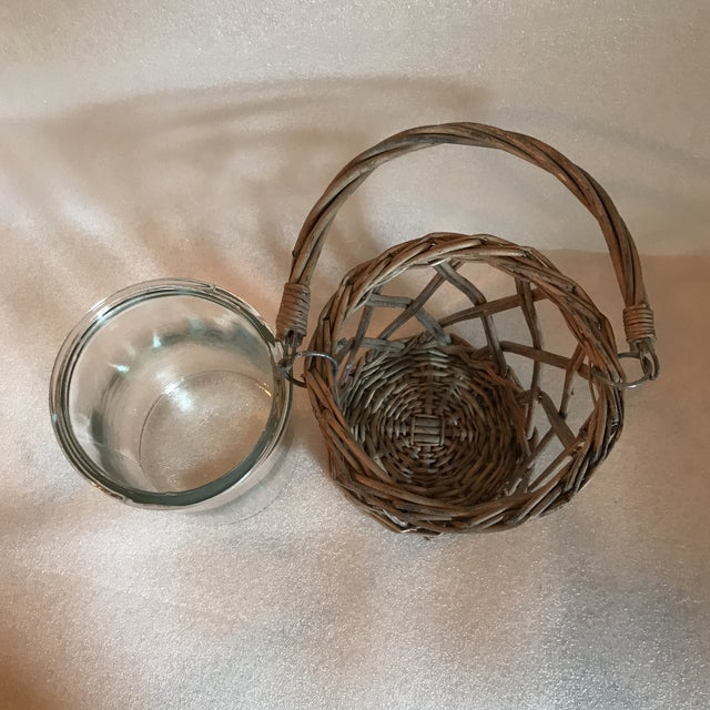 Wicker and Glass Vase With Handle For Sale In Charlotte - Image 6 of 8