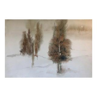 Sparse Impressionist Landscape Watercolor, 1980s For Sale