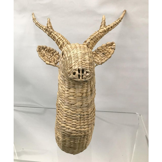 Boho Chic Seagrass Woven Stag Head For Sale - Image 3 of 7