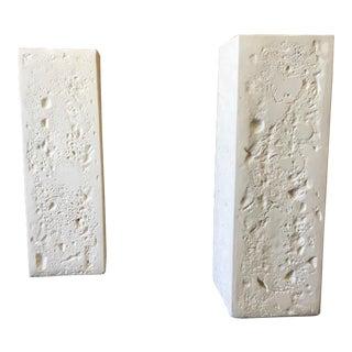 20th Century Modern Faux Cast Stone Pedestals - a Pair For Sale