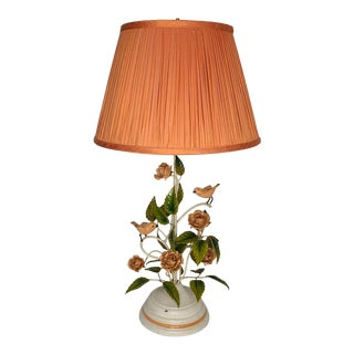 Coral Rose and Finch Tole Table Lamp With Silk Shade. For Sale