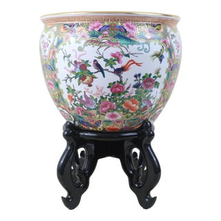 Vintage Rose Medallion Fish Bowl With Black Lacquered Wood Stand For Sale