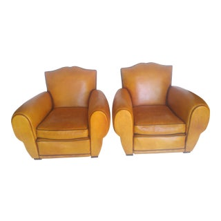 1930s French Art Deco Leather Club Chairs - A Pair