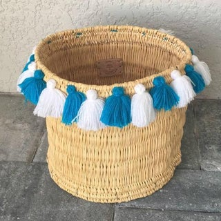 Moroccan Turquoise and White Tassel Large Basket Preview