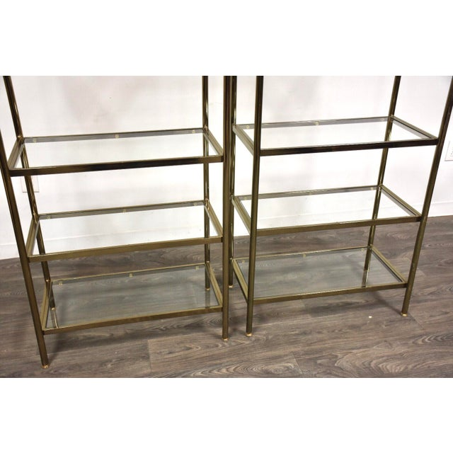 Hollywood Regency Hollywood Regency Style Brass Etageres- a Pair For Sale - Image 3 of 11