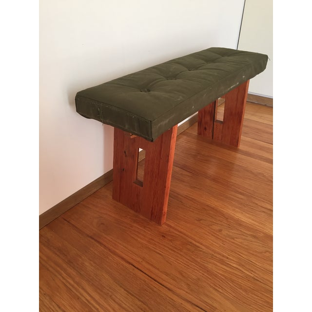 Bench with Vintage Army Upholstery - Image 3 of 7