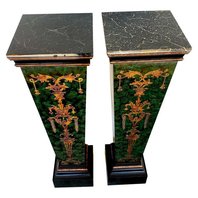 Green Neoclassical Faux Painted Green and Gilt Pedestals - a PAir For Sale - Image 8 of 8