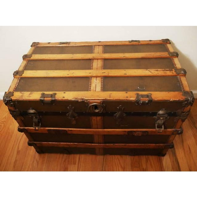 Industrial Fabulous Victorian Antique Canvas Leather & Wood Steamer Trunk For Sale - Image 3 of 7