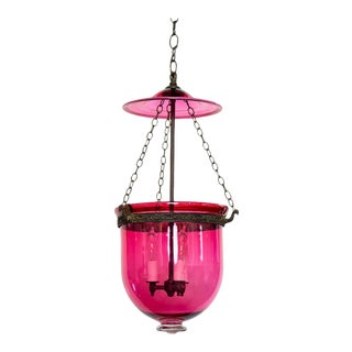 19th Century Cranberry Glass Bell Jar For Sale