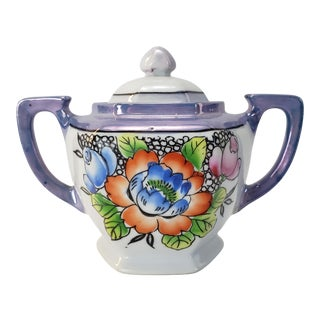 Early 20th Century Japanese Lusterware Sugar Bowl For Sale