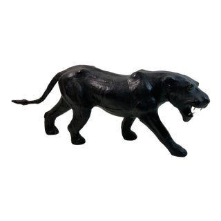 1970s Vintage Leather Wrapped Black Panther Sculpture For Sale