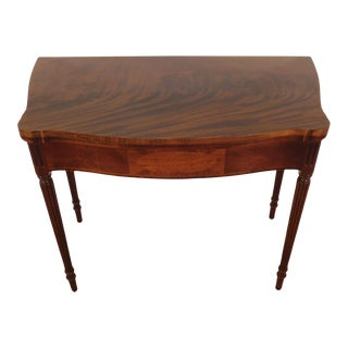 Baker Furniture Historic Charleston Serpentine Flame Mahogany Games Table For Sale