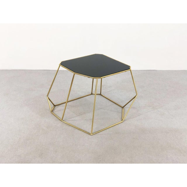 Contemporary Vintage Domus Collection Customizable Coffee Table in Brass and Crystal Glass For Sale - Image 3 of 3