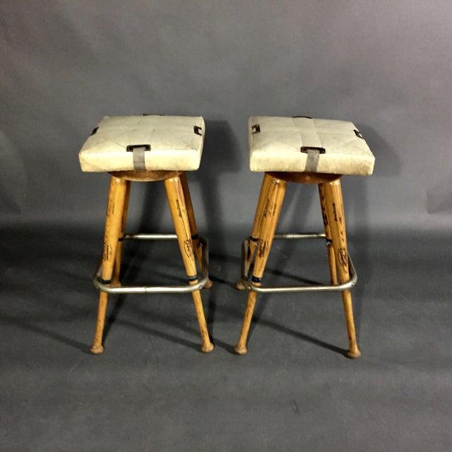 "Adirondack Pair 1980s Baseball Bat 31.5"" Stools, Vintage Plate Seats For Sale - Image 3 of 10"
