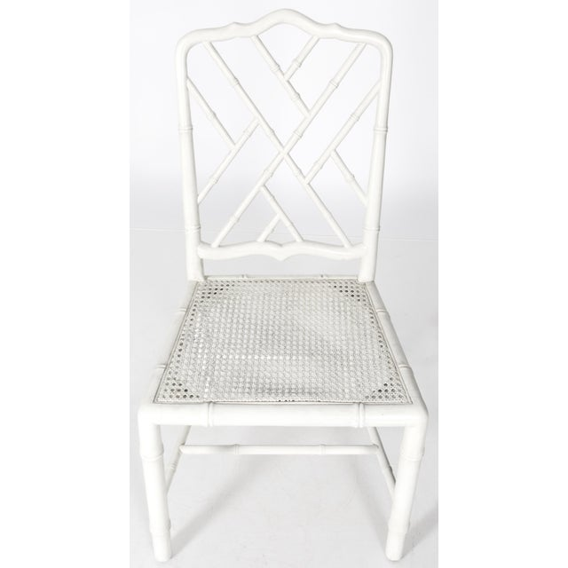 White Painted Faux Bamboo Side Chair - Image 3 of 8