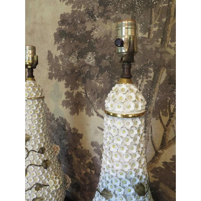 Mid 20th Century German Schneeballen Porcelain Covered Lamps - a Pair For Sale - Image 5 of 11