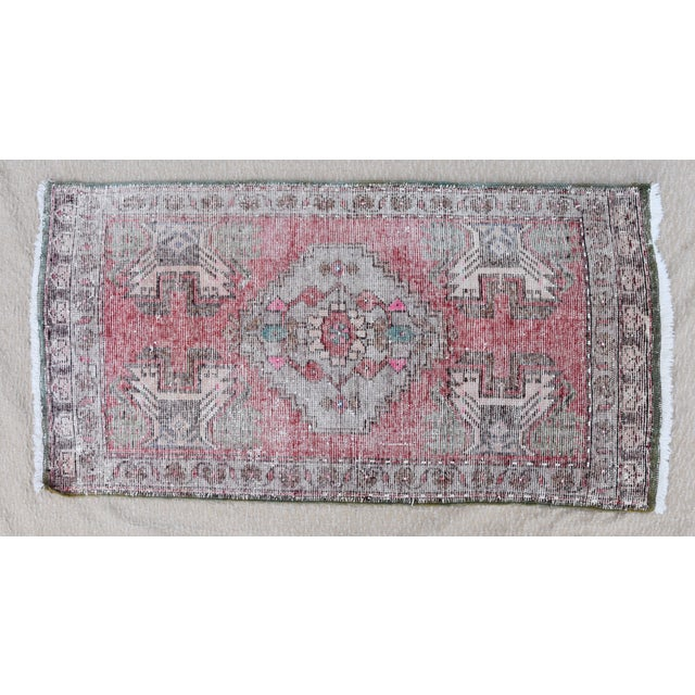 """Cotton Early 20th Century Turkish Muted Reds Accent Rug - 1'9"""" X 3'5"""" For Sale - Image 7 of 9"""