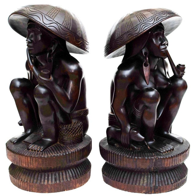 Large Early 20th C. African Narra Wood Sculptures - a Pair For Sale In Dallas - Image 6 of 13