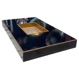 """Willy Rizzo """"Alveo"""" Rectangular Black Wood Brass Coffee Table, Italy, 1970s For Sale"""