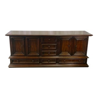 Vintage Mahogany Drexel Heritage Traditional Italian Credenza Dresser For Sale