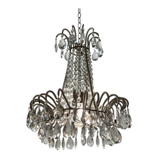 Antique French Beaded Chandelier For Sale