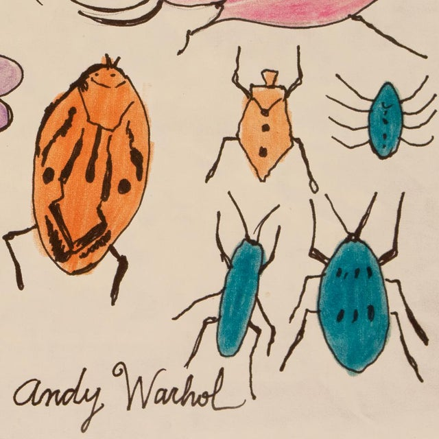 "Andy Warhol Andy Warhol ""Happy Bug Day!"", Original Large Drawing, Signed and Sealed For Sale - Image 4 of 9"