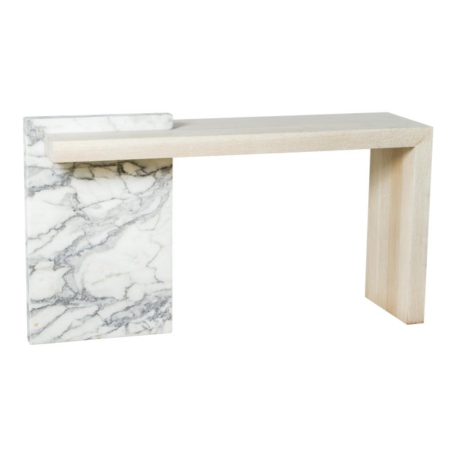 Paul Marra Marble and Bleached Oak Console For Sale