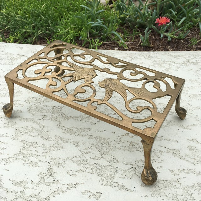 Mid-Century Solid Brass Bird Motif Plant Stand - Image 7 of 11