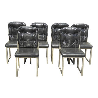 Six Vintage Mid Century Industrial Style Black Vinyl Tufted Dining Chairs For Sale