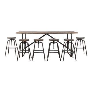 Vintage Industrial Factory Table and Stools - Set of Seven For Sale