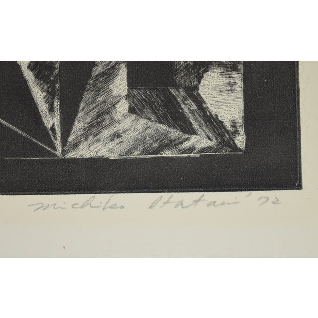 Abstract 1972 Michiko Itatani Black & White Geometric Etching For Sale - Image 3 of 5