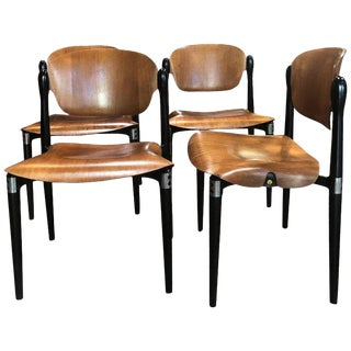 """Set of 4 Rosewood and Black Lacquered """"S83"""" Side Chairs by E.Gerli for Tecno For Sale"""