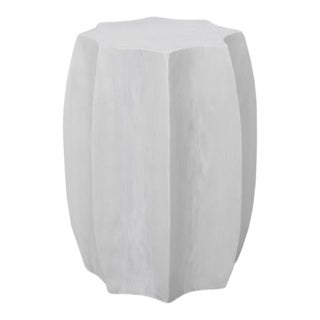 Octagon White Accent Side Table For Sale
