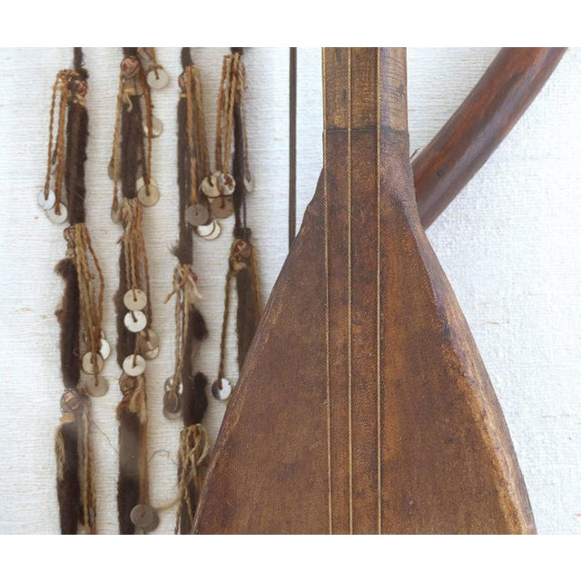 Antique Moroccan Lute of Goatskin on Wood Mounted in a Lucite & Silk Shadowbox For Sale - Image 4 of 8