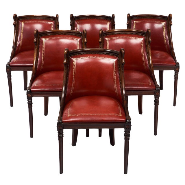 Set of 6 French Empire Style Barrel Swan Chairs For Sale