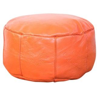 Antique Revival Leather Moroccan Pouf Ottoman - Tangerine Orange For Sale