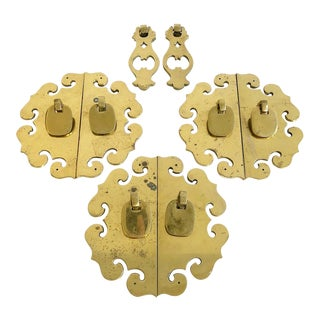 Fabulous Vintage Solid Brass Chinoiserie Style Hardware Set For Sale