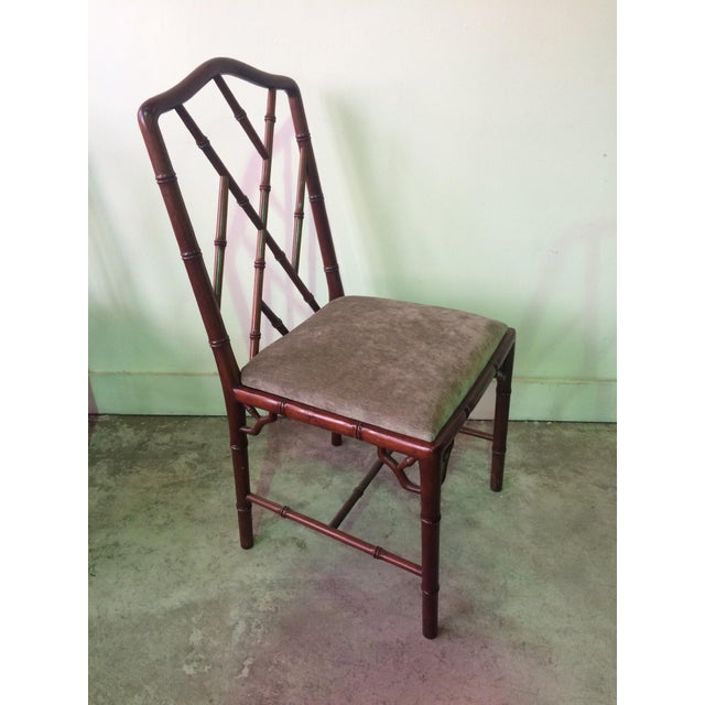 Rosewood 1960s Vintage Rosewood Chinese Chippendale Style Faux Bamboo Dining Chairs- Set of 8 For Sale - Image 7 of 13
