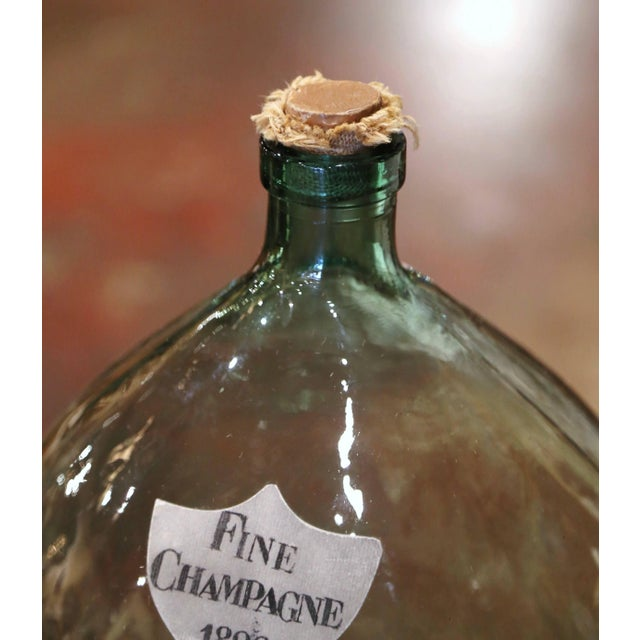 2000 - 2009 Vintage French Hand Blown Demijohn Glass Bottle With Cork Top For Sale - Image 5 of 8