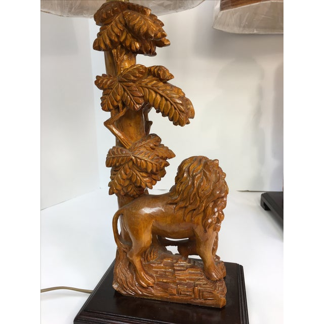 Carved Wood Lion Table Lamps - A Pair - Image 4 of 11