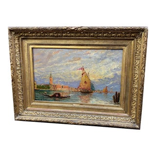 Late 19th Century Venetian Waterway Oil Painting, Framed For Sale
