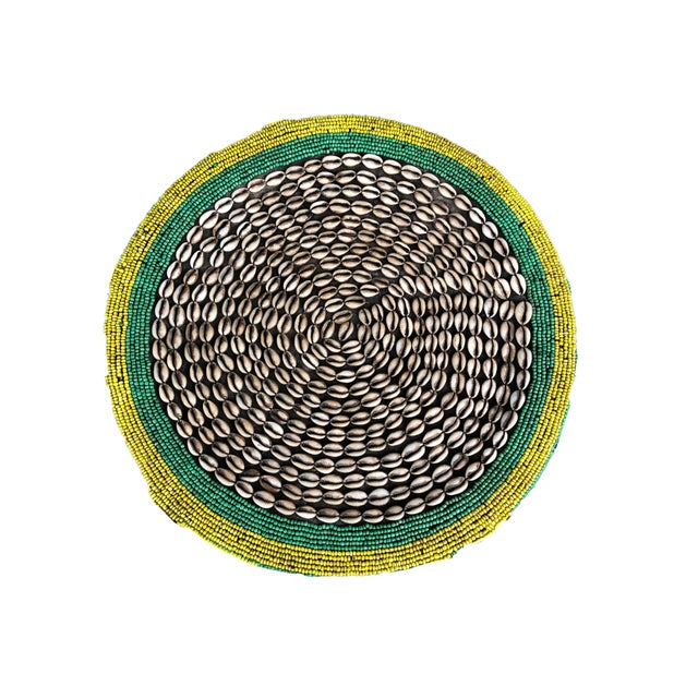 """Green Lg African Beaded Wood Bamileke Stool /Table Cameroon 18.5'""""h For Sale - Image 8 of 11"""