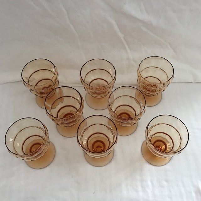 1960s Vintage Amber Ribbed Glasses - Set of 8 For Sale - Image 5 of 11